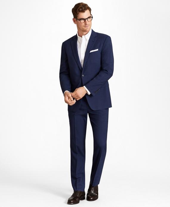 Regent Fit BrooksCool® Navy Plaid Suit Navy