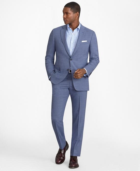 Regent Fit BrooksCool® Subtle Plaid Suit Blue