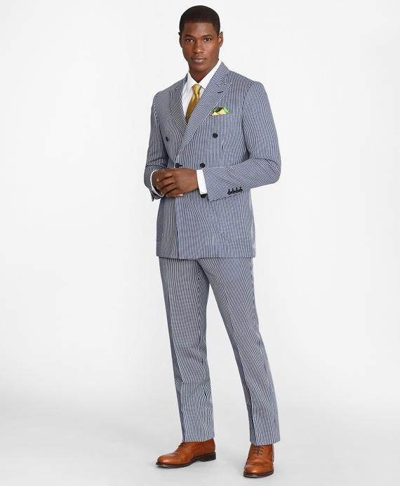 Regent Fit Double-Breasted Stripe 1818 Suit Blue