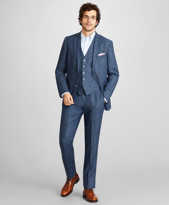 Regent Fit Three-Piece Linen Suit Navy