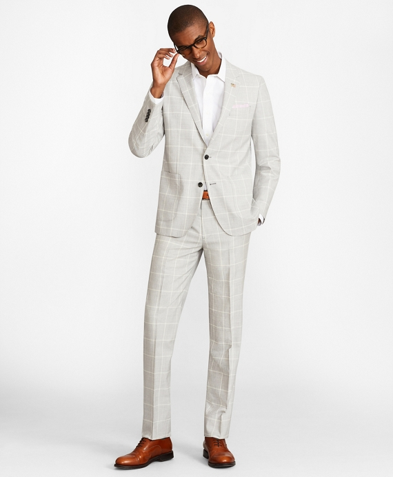 Milano Fit Plaid 1818 Suit Grey