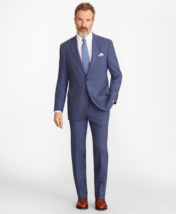 Madison Fit BrooksCool® Subtle Plaid Suit Blue