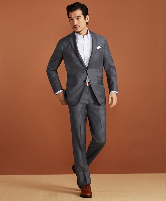 Golden Fleece® Merino Wool Pinstripe Suit Grey
