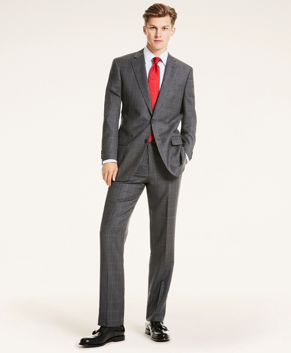 Madison Fit Plaid Wool Twill 1818 Suit Grey
