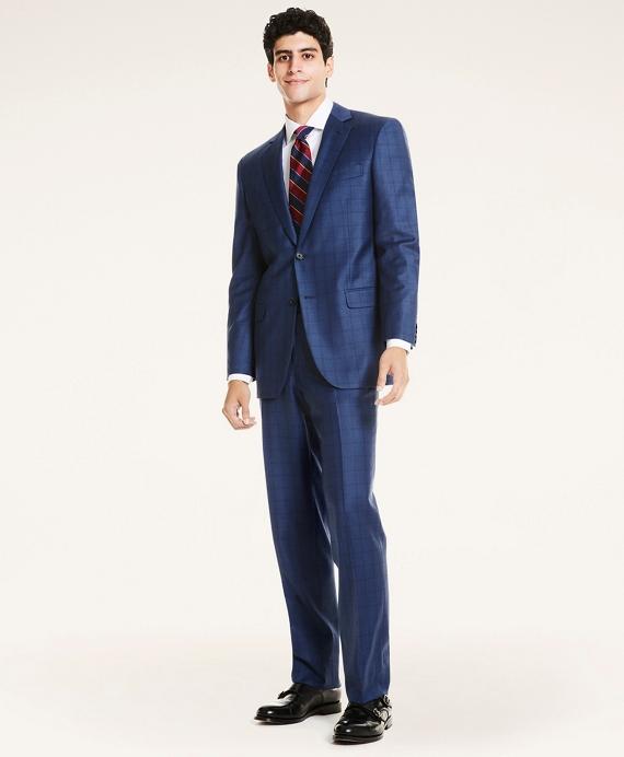 Madison Fit Plaid Wool Twill 1818 Suit Blue