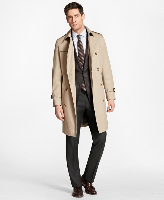 Double-Breasted Khaki Trench Khaki
