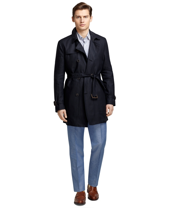 Double-Breasted Bonded Linen Trench Navy