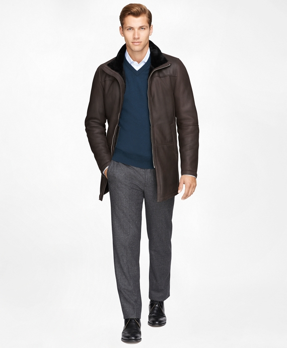 Shearling Car Coat Brown
