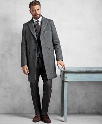 Golden Fleece® Grey Herringbone Topcoat