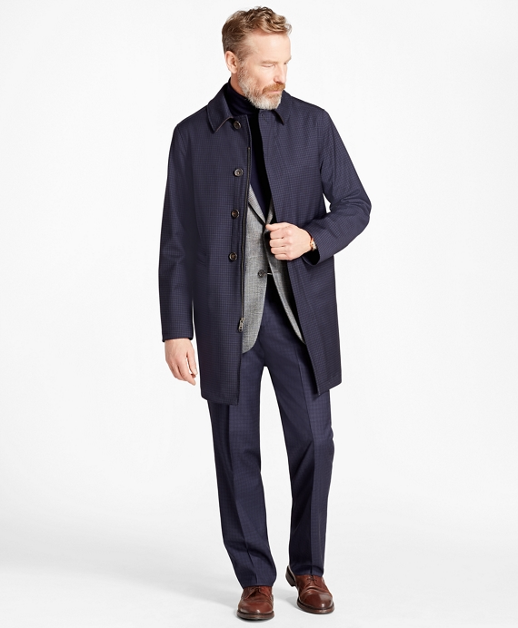 Mini-Check Trench Coat Blue