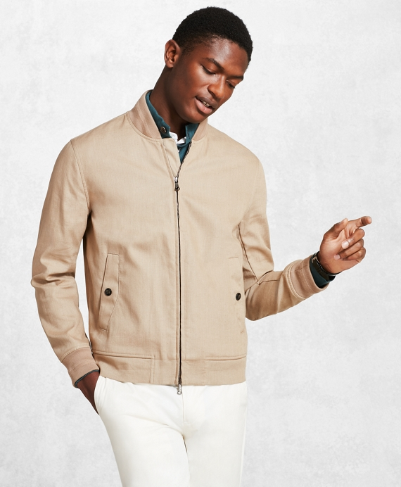 Golden Fleece® Linen Bomber Beige-Grey