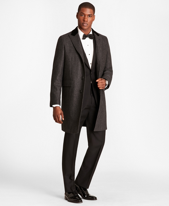 Herringbone Wool-Cashmere Chesterfield Coat Charcoal