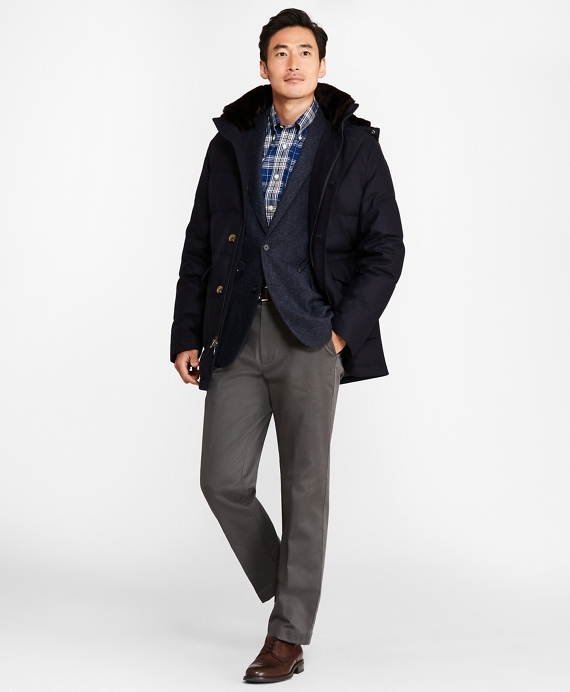Water-Resistant Wool Down-Filled Parka Navy