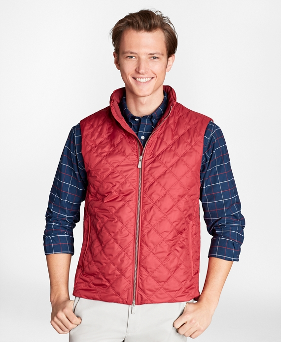 Diamond Quilted Vest Red