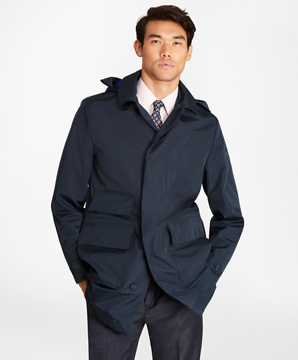Water-Repellent Hooded Trench Coat