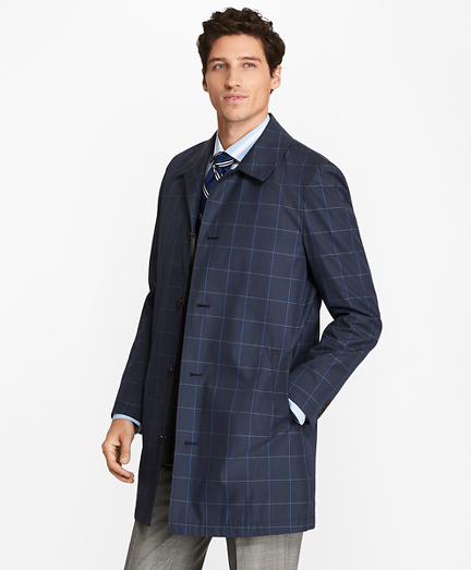 Windowpane Water-Repellent Trench Coat