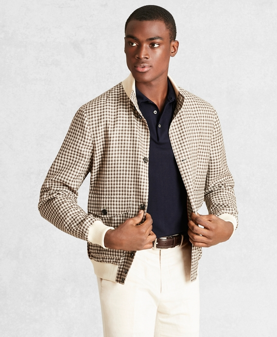 a8ba2dc14 Golden Fleece® Wool Linen Houndstooth Bomber Jacket - Brooks Brothers