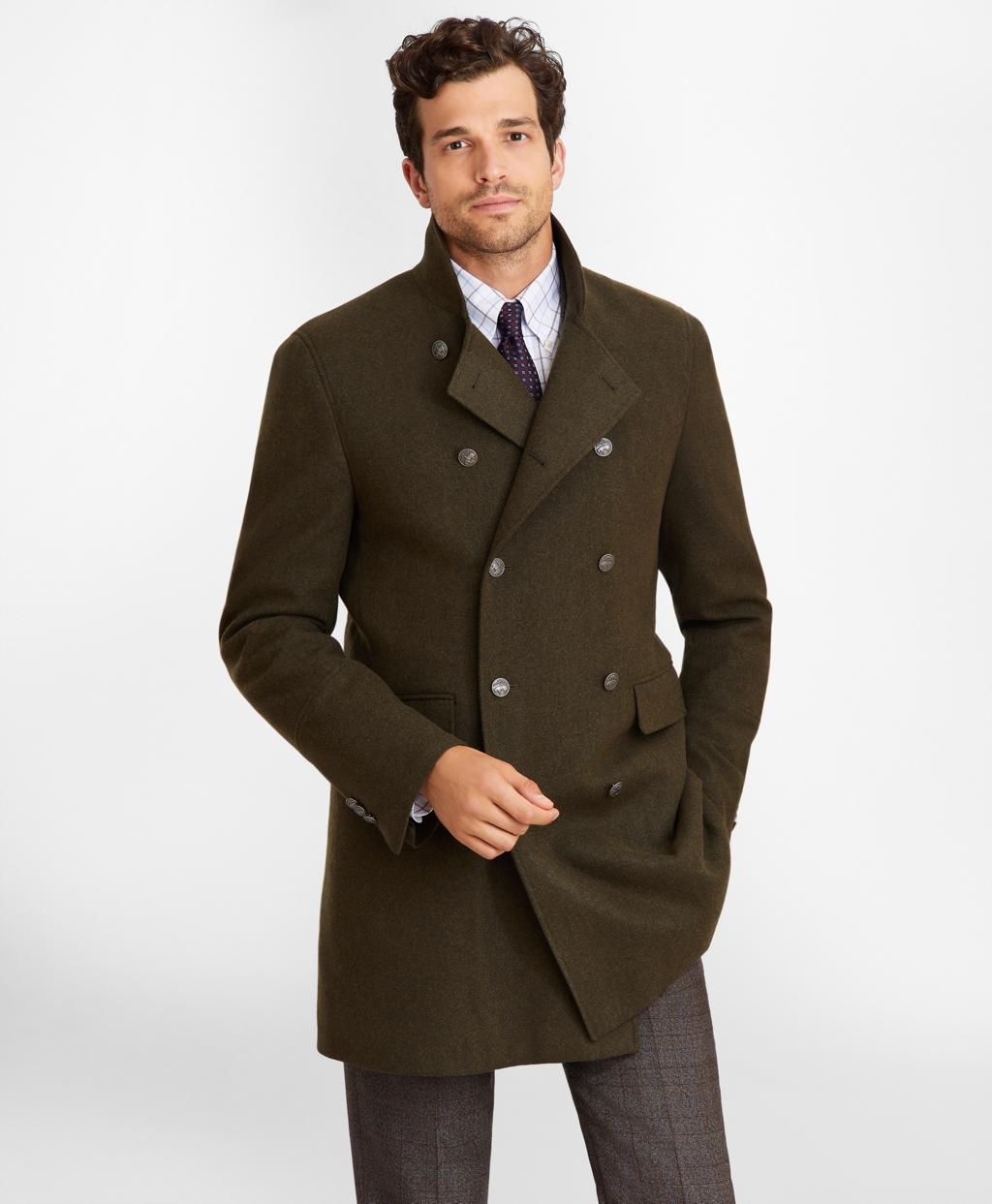 60s 70s Men's Jackets & Sweaters Brooks Brothers Mens Wool-Blend Topcoat $698.00 AT vintagedancer.com