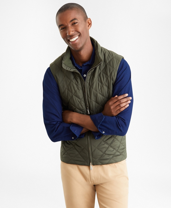 Diamond Quilted Vest Green