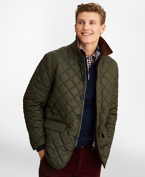 Diamond Quilted Jacket Green
