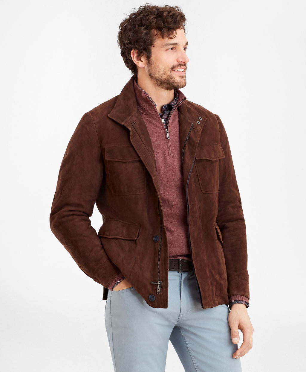 Men's Vintage Workwear Inspired Clothing Brooks Brothers Mens Suede Field Jacket $908.60 AT vintagedancer.com