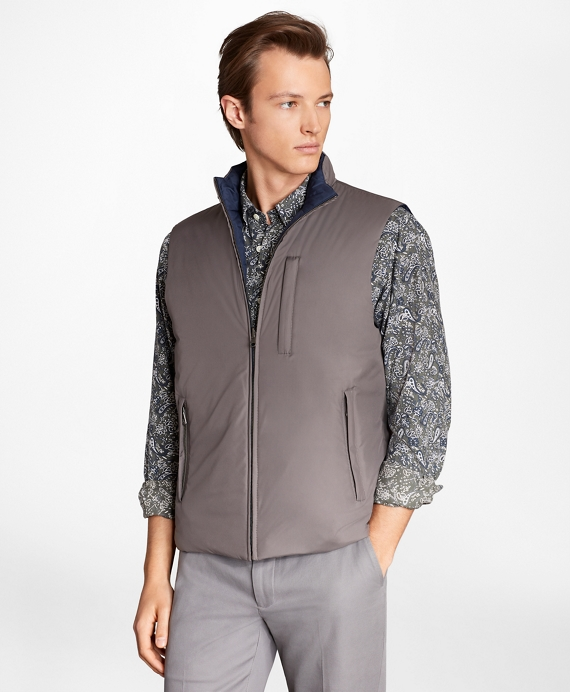 Reversible Quilted Down Vest Charcoal