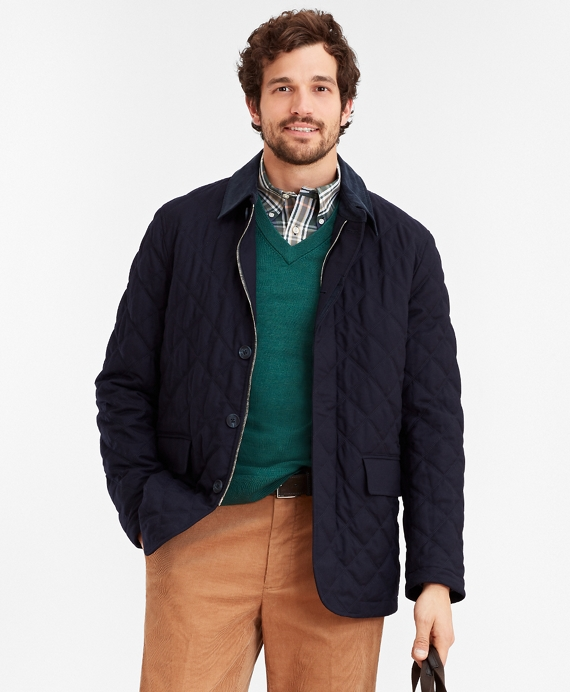 Wool Quilted Jacket Navy