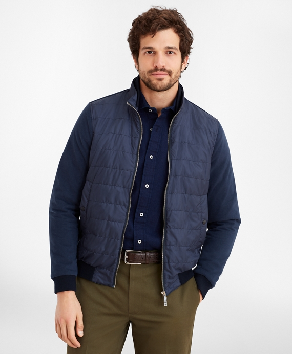 Mixed-Media Quilted Bomber Jacket Navy