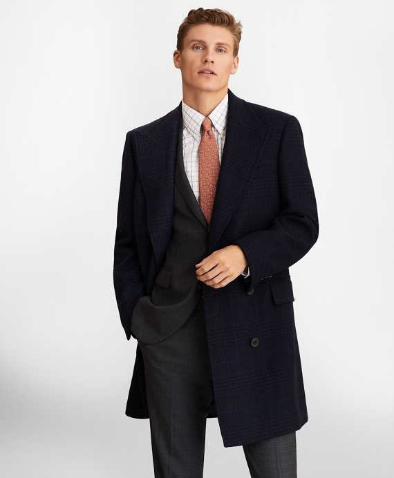 Plaid Double-Breasted Topcoat Navy