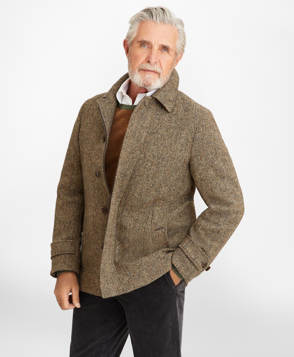60s 70s Men's Jackets & Sweaters Brooks Brothers Mens Harris Tweed Walking Coat $698.60 AT vintagedancer.com