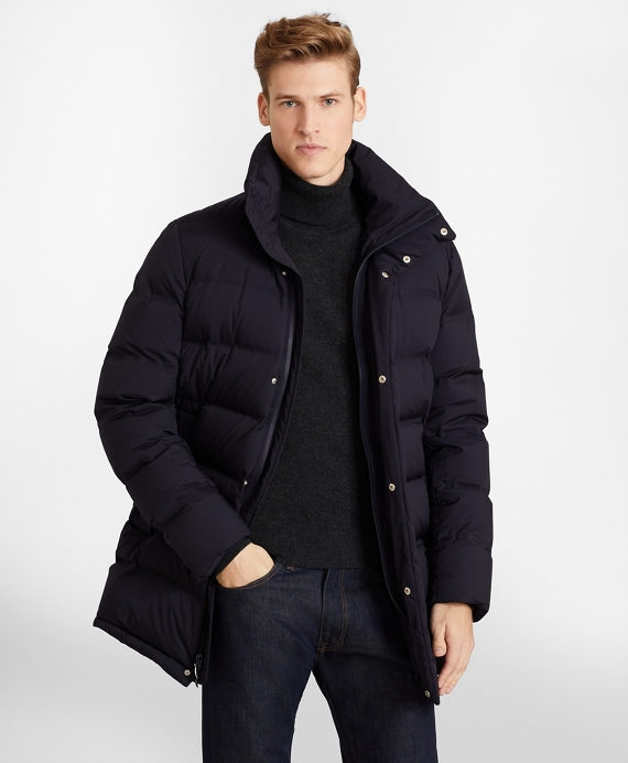 Quilted Down Long Puffer Coat Navy