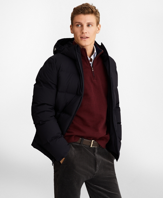 Quilted Down Puffer Coat Navy