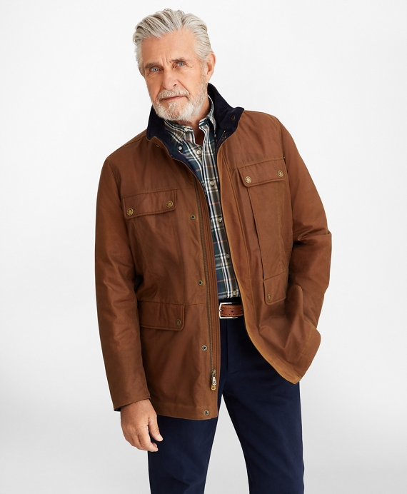 Waxed Cotton Field Jacket Brown