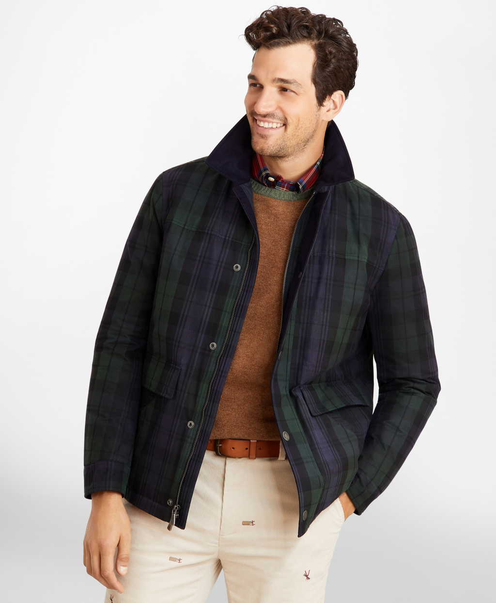 Men's Vintage Jackets & Coats Brooks Brothers Mens Black Watch Tartan Waxed Cotton Barn Coat $418.60 AT vintagedancer.com