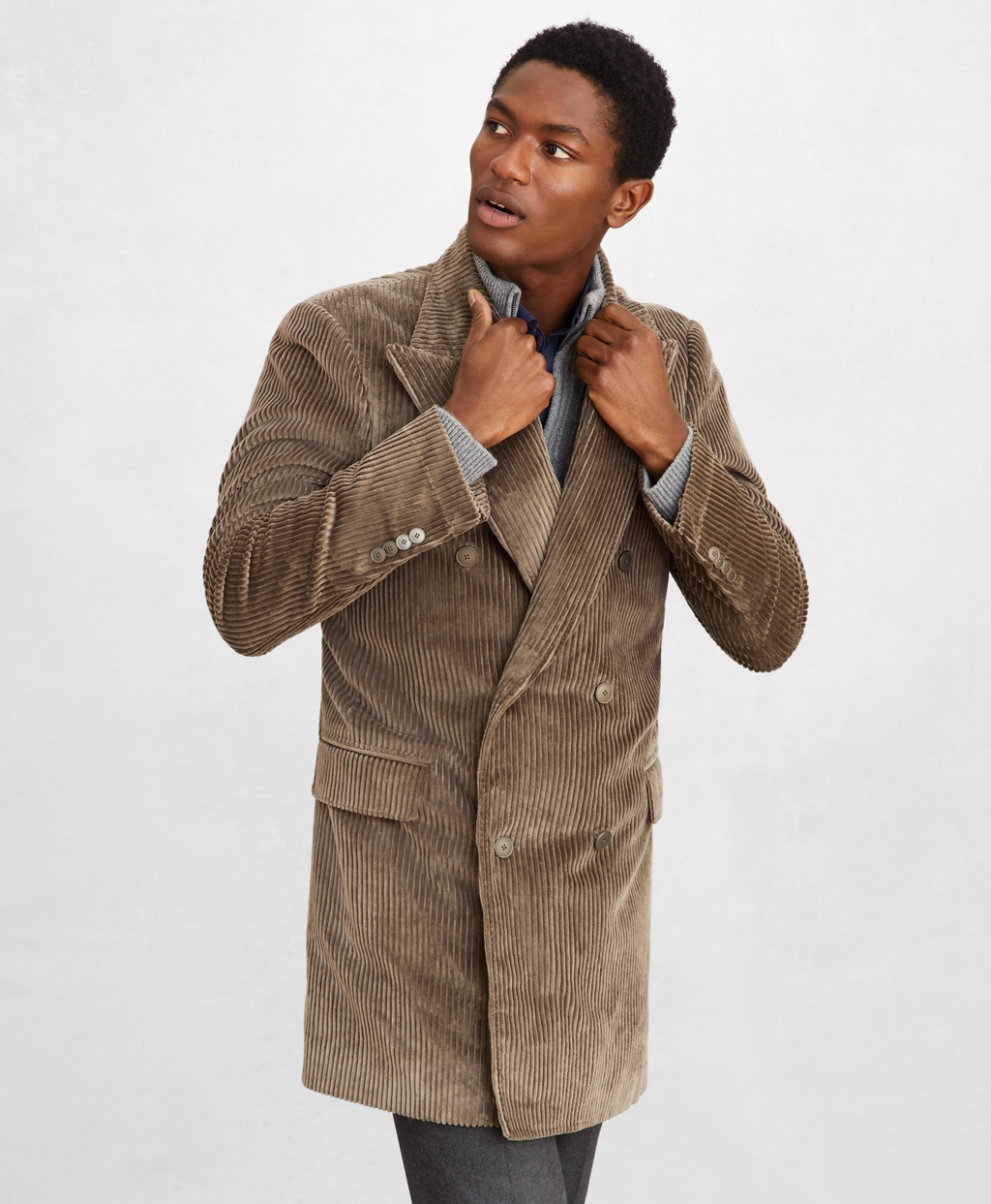 70s Jackets & Hippie Vests, Ponchos Brooks Brothers Mens Golden Fleece Double-Breasted Corduroy Topcoat $1,698.00 AT vintagedancer.com