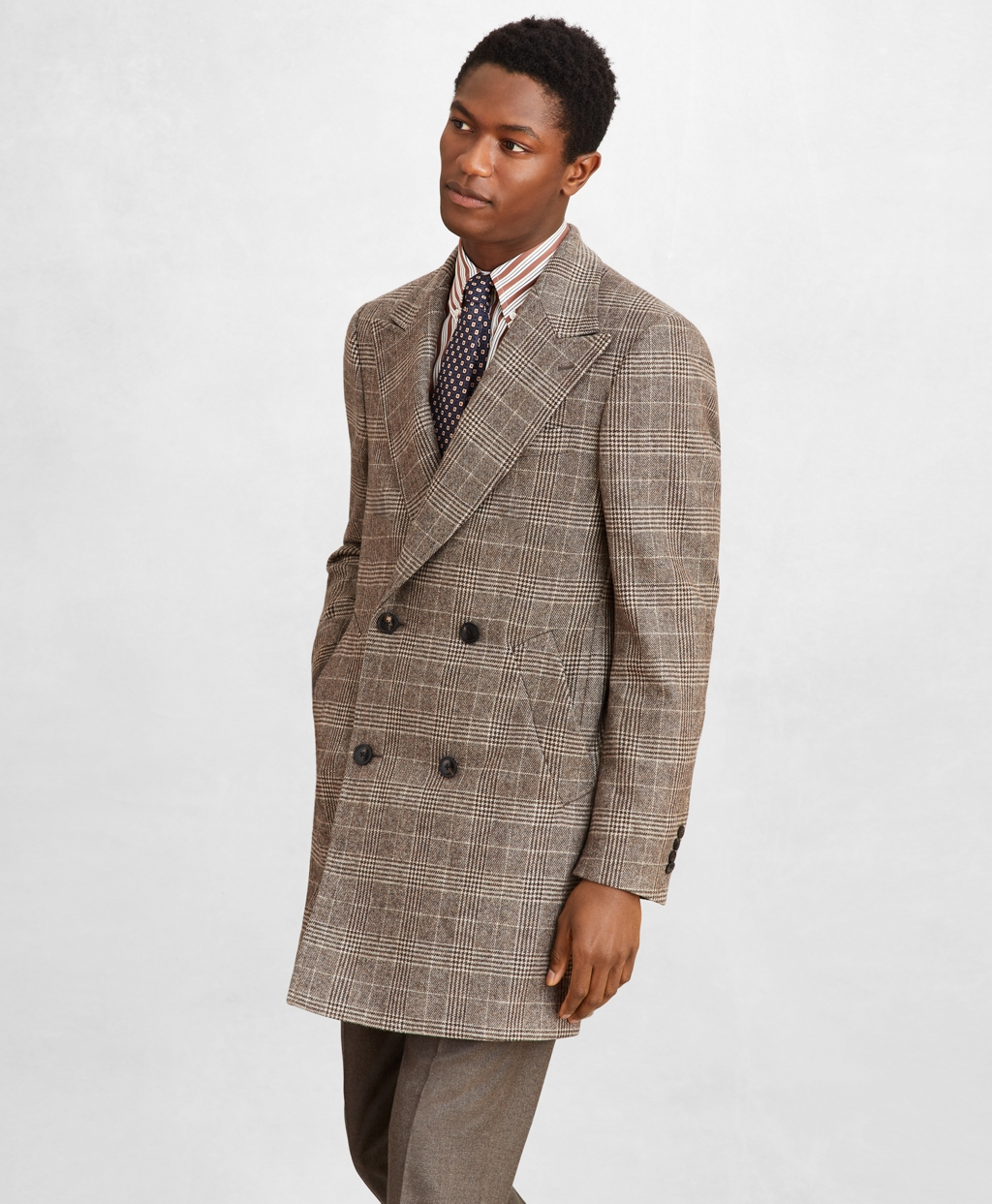Men's Vintage Style Coats and Jackets Brooks Brothers Mens Golden Fleece Double-Breasted Plaid Topcoat $1,273.50 AT vintagedancer.com