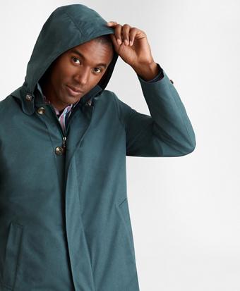 Water-Repellent Hooded Trench Coat