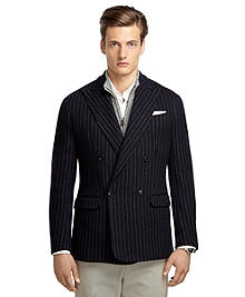 Navy Stripe Double-Breasted Knit Blazer