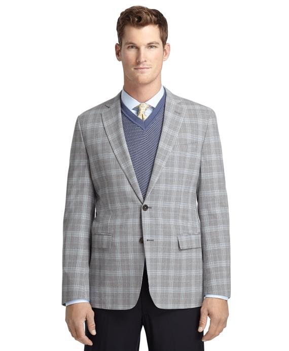 Fitzgerald Fit Grey Plaid with Blue Deco Sport Coat Grey