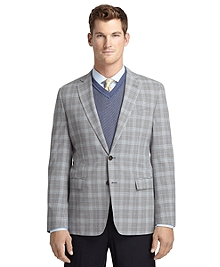 Fitzgerald Fit Grey Plaid with Blue Deco Sport Coat