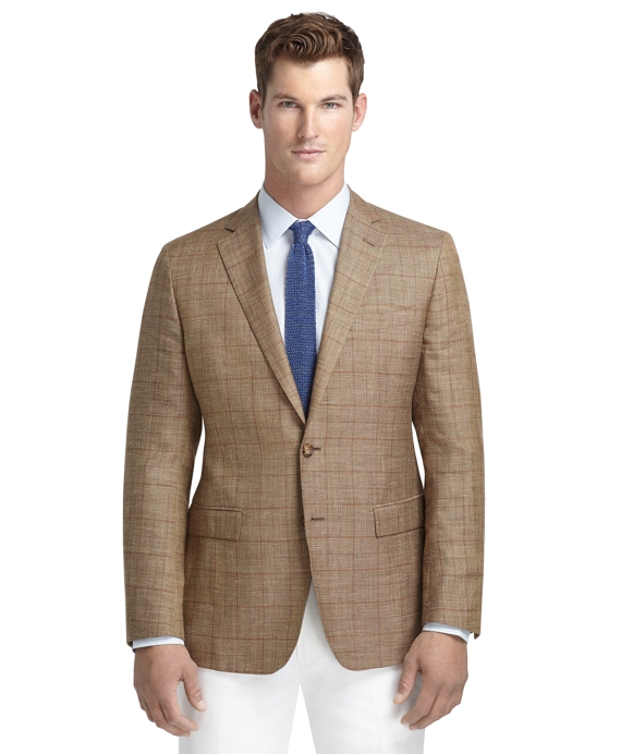 Fitzgerald Fit Tan Plaid with Rust Windowpane Sport Coat Tan