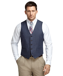 Navy Linen Herringbone Vest