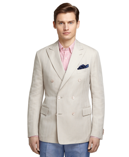 Cream Herringbone Sport Coat