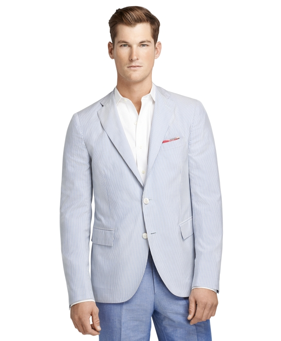 Seersucker Stripe Sport Coat Blue