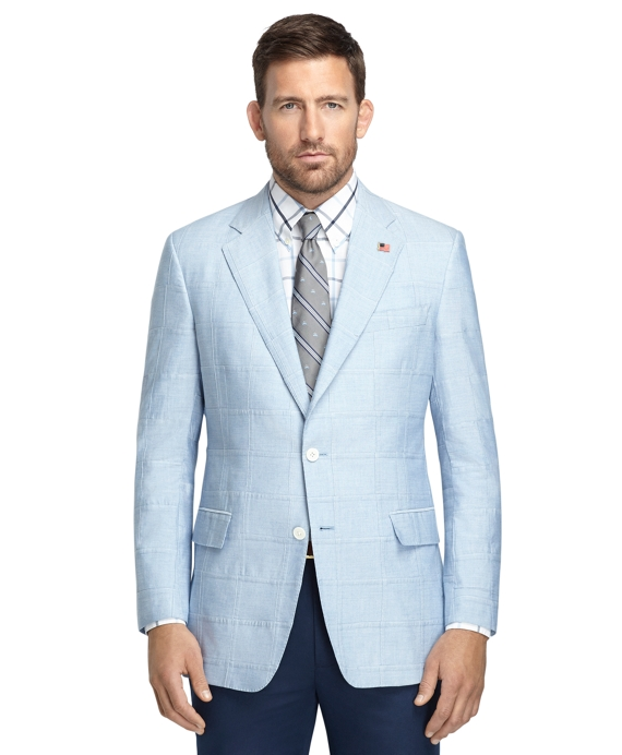 Regent Fit Blue Chambray Patch Sport Coat Blue