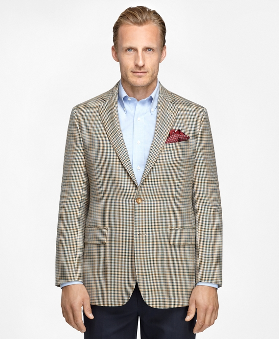 Madison Fit Tonal Check with Blue Deco Sport Coat Tan
