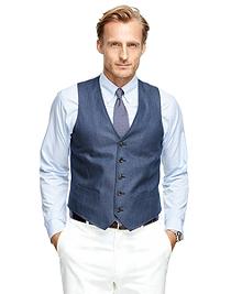 Linen Herringbone Vest