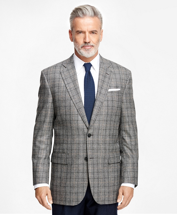 Madison Fit Saxxon™ Wool Plaid with Deco Sport Coat Grey