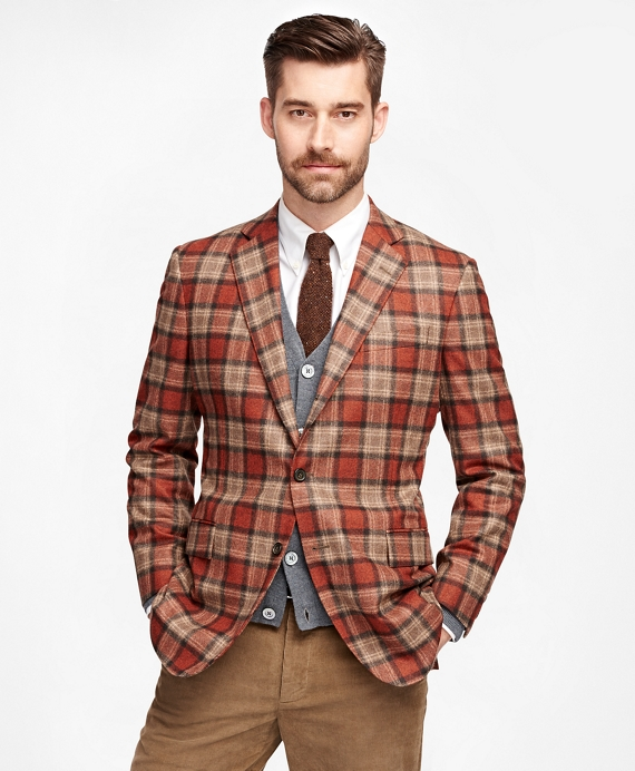 men s slim fit red tartan sport coat brooks brothers