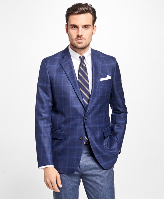 Regent Fit Saxxon™ Wool Windowpane Sport Coat Navy